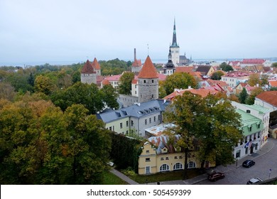 View at old town towers at autumn at the time of sunset. Photographed in Tallinn, Estonia, Europe