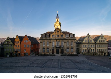 View of the old townhall and its neighbouring buildings St the marketplace of the old town of Schwabisch Hall in Baden-Wurttemberg, Germany