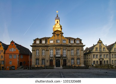 View of the old townhall and its neighbouring buildings at the marketplace of the old town of Schwabisch Hall in Baden-Wurttemberg, Germany