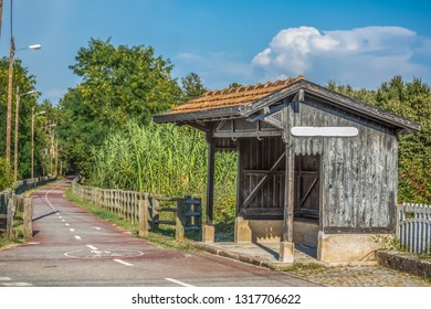 View of old train stop, small infrastructure, vintage wooden building, cycle and pedestrian ecopist in Viseu, Portugal