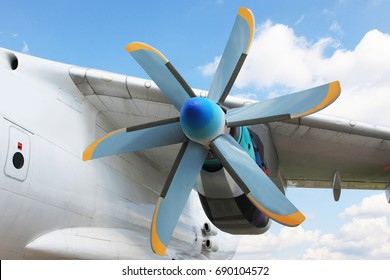 A view of an old turboprop-powered aircraft engine.