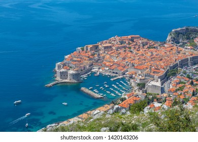View of Old Walled City of Dubrovnik  and Adriatic Sea from elevated position, Dubrovnik Riviera, Croatia, Europe 1-5-2019