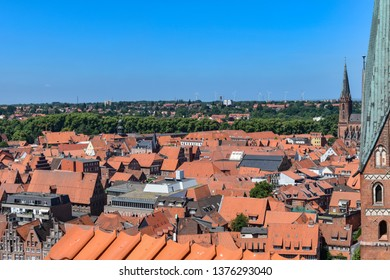 View from the old water tower of the historic Hanseatic city of Lueneburg, Germany, over the rooftops of the old town.