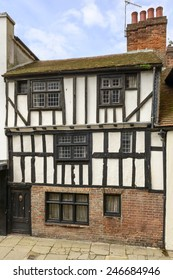 view of old wattle house on a street in the historic village of Hastings, East Sussex