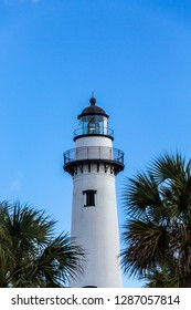 A view of the old white brick lighthouse on St Simons Island, Georgia