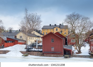 A view of old wooden barns in the Porvoo Old Town, Finland