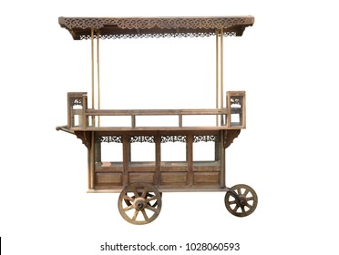 View of old wooden cart on white background.