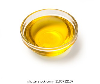 view of olive oil bowl isolated on white with clipping path