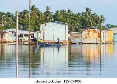 View of Ologa, a small village made of stilt houses in Maracaibo Lake, Venezuela