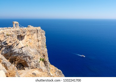 view on Acropolis and deep blue sea in Lindos, Rhodes island Greece