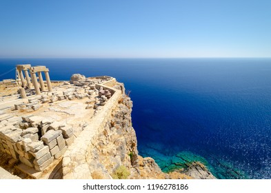 view on Acropolis in Lindos, Rhodes island, Dodecanese, Greece