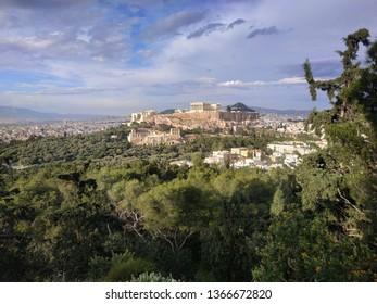 View on Acropolis Parthenon in Athens Greece