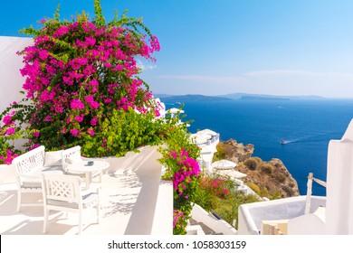 view on aegean sea from Oia, Santorini island, Cyclades, Greece