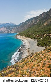 View on Agios Pavlos beach from e4 trail between Loutro and Agia Roumeli at south-west od Crete island, Greece