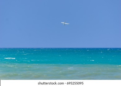 View on an Airplane above the Ocean