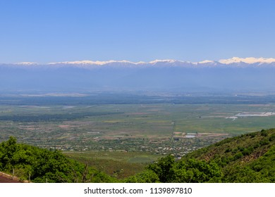 View on Alazani valley and Caucasus mountains from Sighnaghi, Kakheti, Georgia
