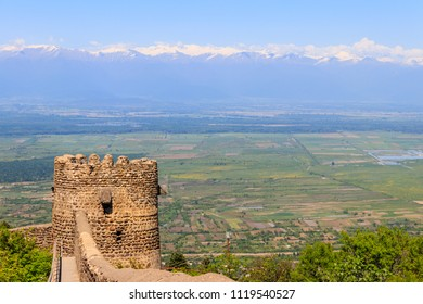 View on Alazani valley and tower of old city wall in city Sighnaghi, Kakheti, Georgia