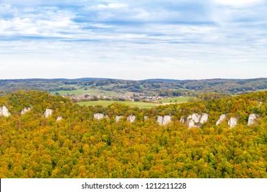 View on the Albtrauf, swabian alps in the near of Castle Lichtenstein