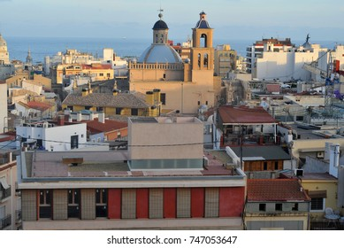 View on Alicante old city and port from castle Santa Barbara
