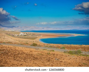 View on almost whole Sotavento Kite lagoon at Fuerteventura, Spain