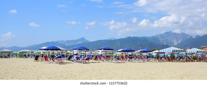 View on the Alpi Apuane from the beach of Versilia (Mediterranean Sea), Viareggio, Tuscany, Italy