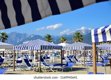 View on the Alpi Apuane from the beach of Versilia (Mediterranean Sea), Viareggio, Tuscany, Italy