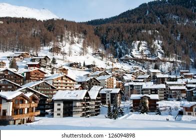 View on alpine village Zermatt, Switzerland