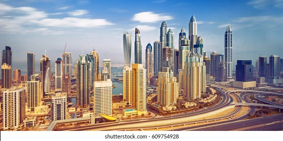 View on amazing Dubai Marina skyline,Dubai,United Arab Emirates
