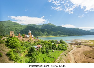 View on Ananuri fortress with orthodox monastery in Georgia.
