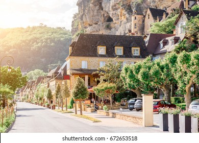 View on the ancient buildings at the famous La Roque Gageac village in France