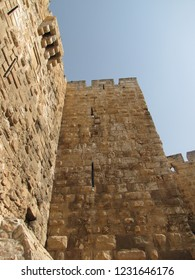 view on the ancient city walls of the jaffa gate in the old city of jerusalem israel