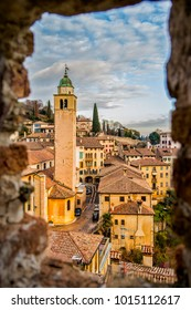 View on the ancient houses of the village of Asolo in the province of Treviso. 6 January 2018 Asolo, Treviso Veneto - Italy