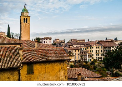 View on the ancient houses of the village of Asolo in the province of Treviso, Veneto - Italy