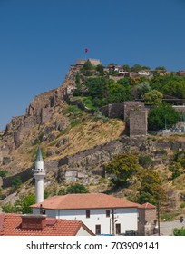 View on Ankara Citadel on the hill and mosque under the hill seen from the historical district