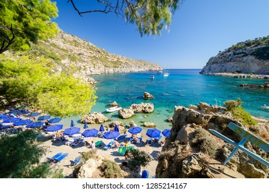 view on Anthony Quinn bay in Ladiko on Rhodes island, Greece
