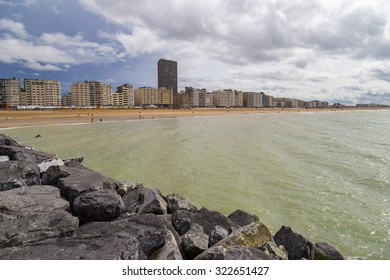 View on apartment buildings on a seafront promenade in Ostend, Belgium