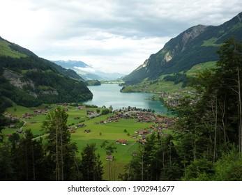 View on Apine valley in Switzerland