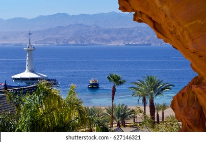 View on the Aqaba gulf and underwater observatory near Eilat - famous international resort in the Middle East, Israel