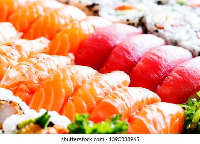 View on assorted sushi and nigiri set, traditional japan cuisine
