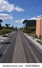 View on ASU footbridge looking down University Drive Tempe Arizona 3/17/18