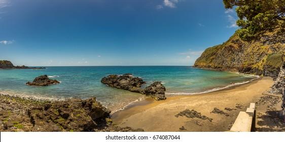 View on Atlantic Ocean coast near Ponta Delgada. Photo taken in the beautiful island of S. Miguel, Azores, Portugal.