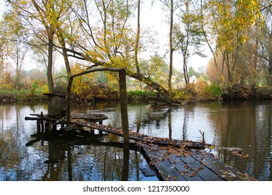 View on autumn landscape of river and trees in sunny day. Rural landscape.