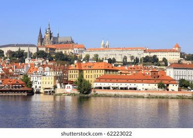 View on the autumn Prague gothic Castle above River Vltava
