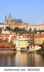 View on the autumn Prague gothic Castle above River Vltava, Czech Republic