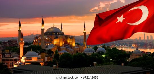 View on Ayasofya museum and cityscape of Istanbul at sunrise, Turkey