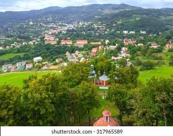 View on Banska Stiavnica (Slovakia) from Banskostiavnicka kalvaria hill