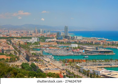 View on Barcelona in a sunny summer day