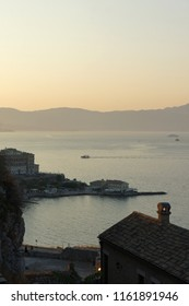 View on the bay in the haze of sunset lighht. Greece, Corfu