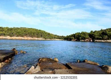 view on the bay of Valdarke, island Losinj, Croatia