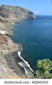 View on  beach Las Gaviotas and South-East coast of Tenerife, Canary islands, Spain